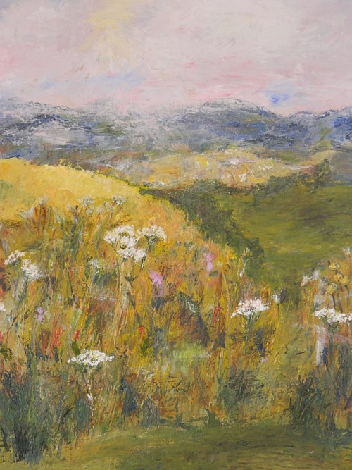 A painting of rolling fields with flowers