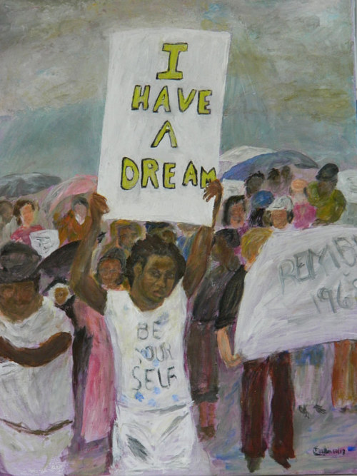 An acrylic painting of a young girl at a Martin Luther King gathering