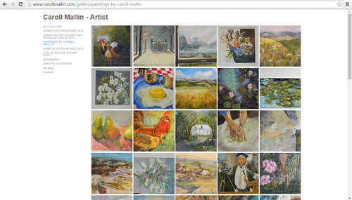 A gallery of completed paintings on Caroll Mallin's art website
