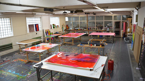 A photograph of Peter Zimmerman's studio in Germany
