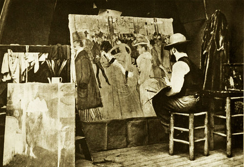 Man painting in art studio