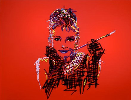A fabric painting of Audrey Hepburn