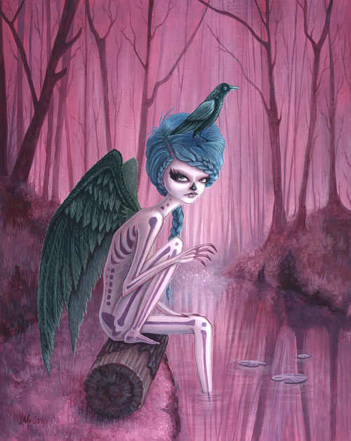 A painting of a winged skeletal woman in a pink forest