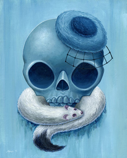 A painting of a skull wearing a hat and a stole
