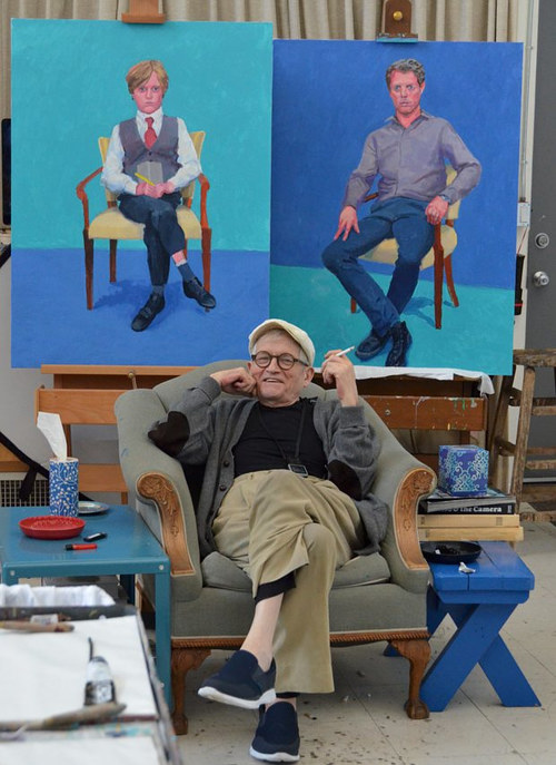 A photo of David Hockney in his studio