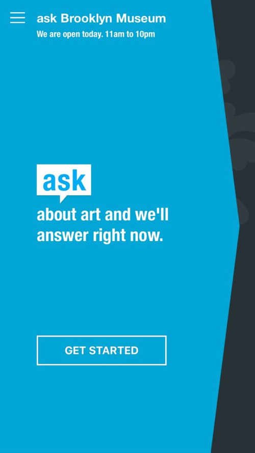 A screen capture of the Brooklyn Museum's ASK app