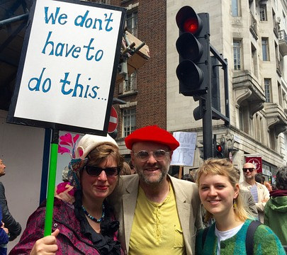 A photo of Gavin Turk and his family at an anti-Brexit rally
