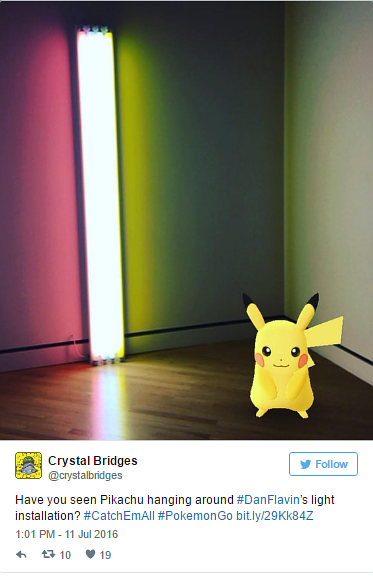 A screen capture of Pikachu spotted near a Dan Flavin work