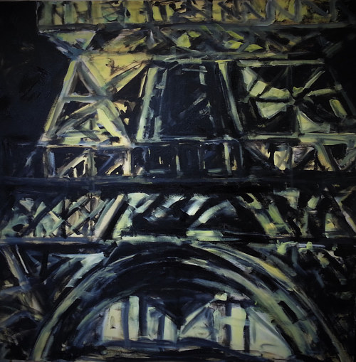 A painting of the Eiffel Tower at night