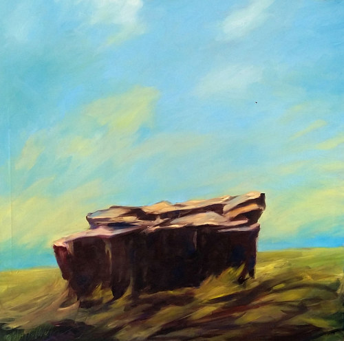 A painting of a rock on a grassy outcropping
