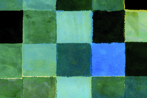 A painting of a grid pattern of squares in blue and green tones