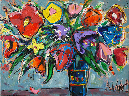 A painting of a bright bunch of flowers