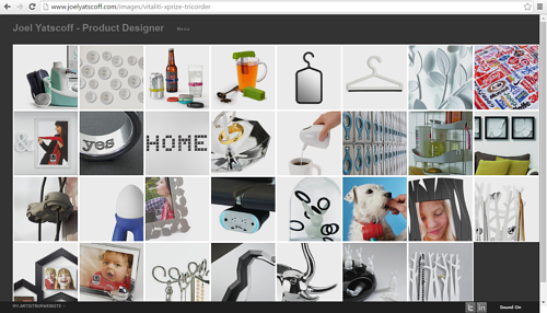 A screen capture of Joel Yatscoff's online portfolio