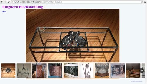 The furniture gallery on Kinghorn Blacksmithing's website