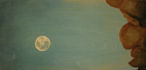 A painting of the moon over some boulders in a clear sky