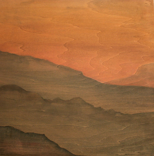 A painting of a gradient of earthy colors