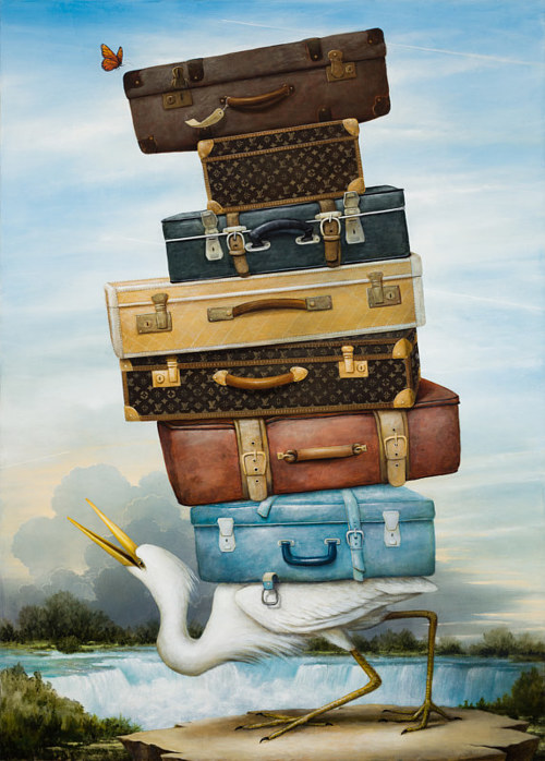 A painting of a stork carrying numerous suitcases