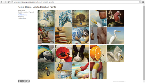 A screen capture of the image gallery on Kevin Sloan's website