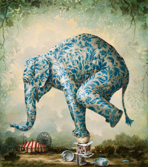A painting of an elephant coated in ornate wallpaper