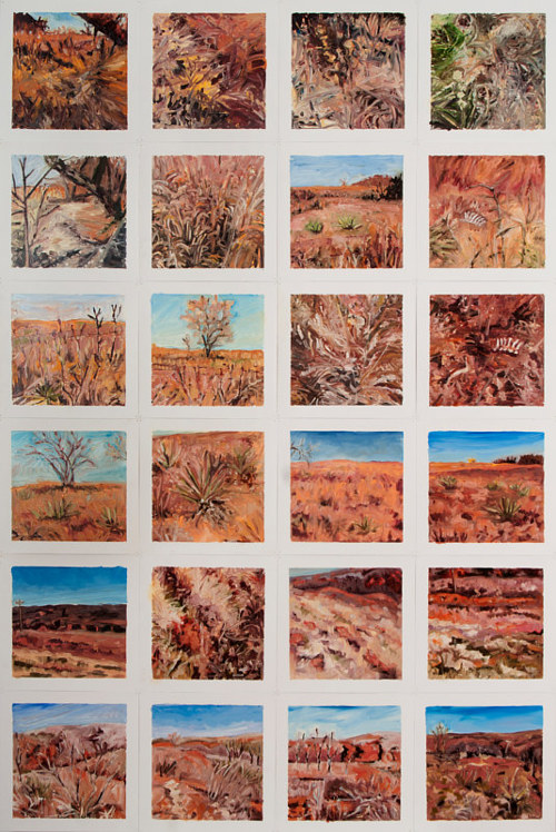 A series of oil paintings of desert terrain mounted on a single sheet of paper