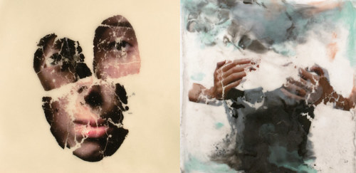 An encaustic art piece featuring fragmented human forms