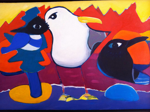 An abstracted painting of island birds