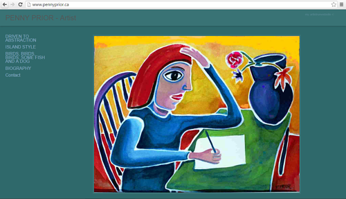 A screen capture of Penny Prior's art website