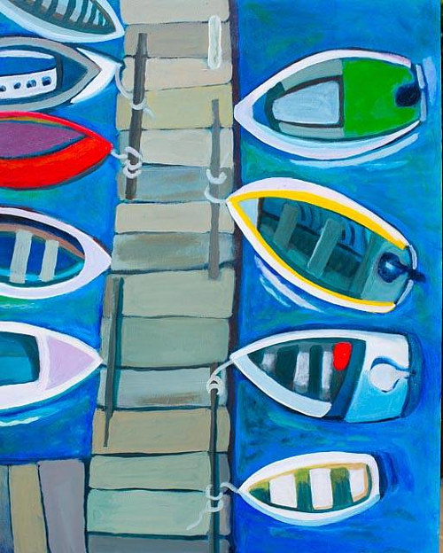 A painting of boats parked at a dock