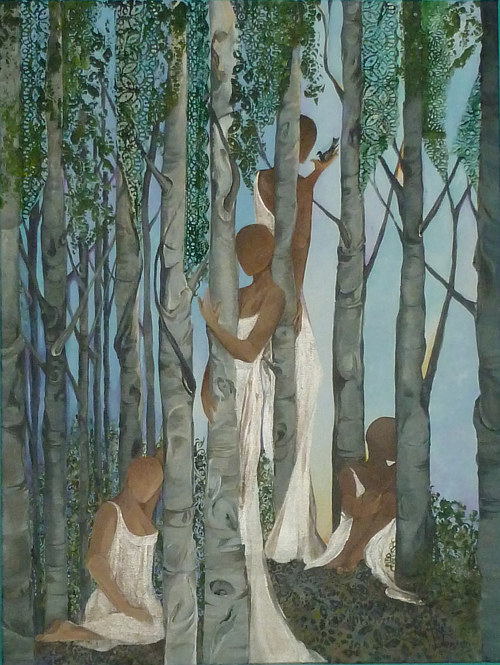 A painting of some tree spirits wearing white gowns