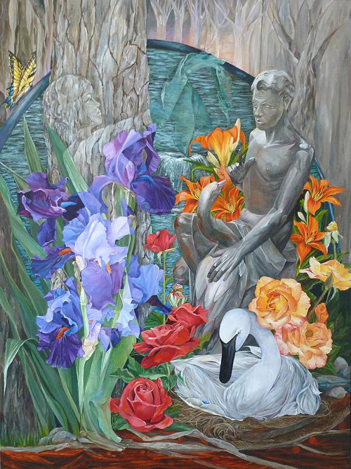 A painting of a garden and statues with a unique layering effect