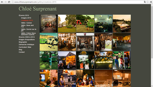 A screen capture of Chloe Surprenant's art website