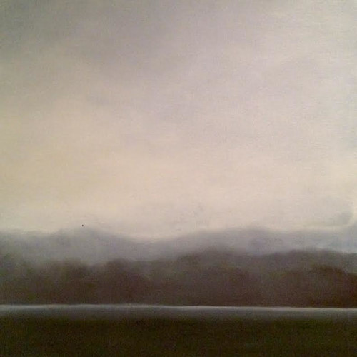 A painting of a foggy morning over a horizon