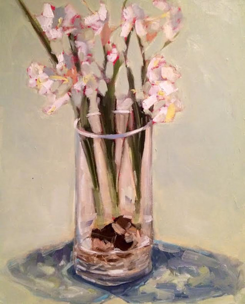 A painting of some paper white flowers in a glass vase
