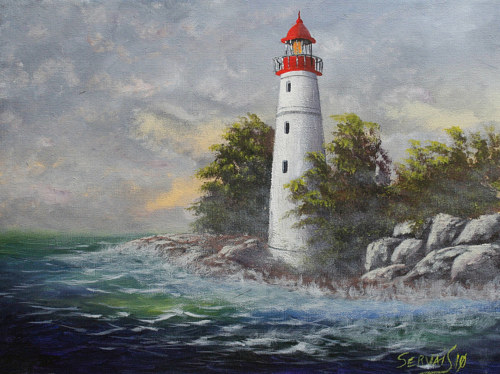 A painting of a lighthouse on a rocky shore