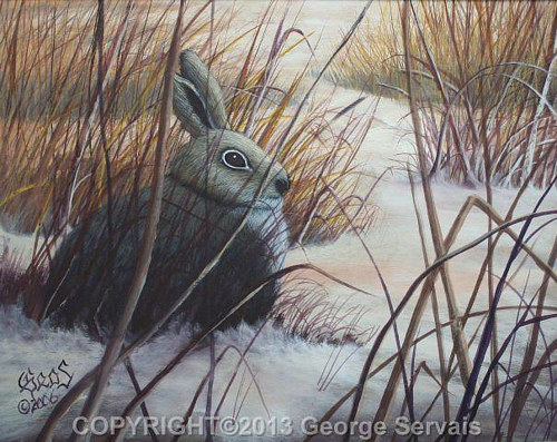 A painting of a rabbit hiding in a snowy patch of grass
