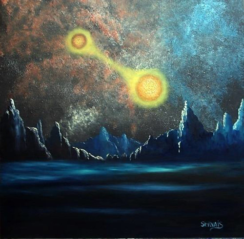 A painting of two suns setting over an alien landscape