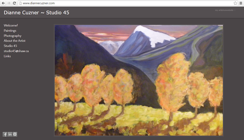 A screen capture of Dianne Cuzner's art website