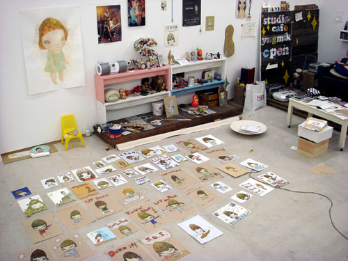 A photograph of the studio of Nara Yoshimoto