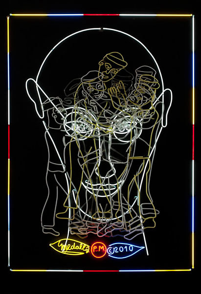 A neon work by David Medalla featuring Piet Mondrian's face