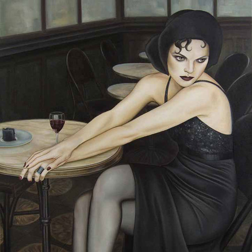 A painting of a woman in a black dress at a cafe table