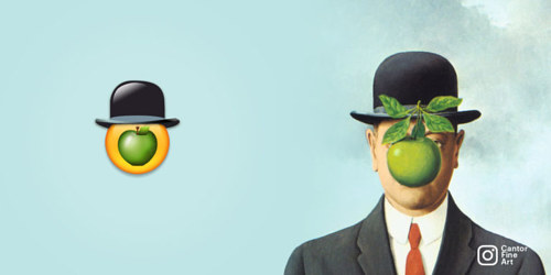 An emoji version of Renee Magritte's Son of Man