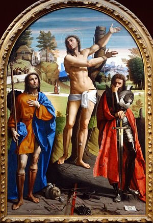 Saints Sebastien, Roch and Demetrius by Ortolano