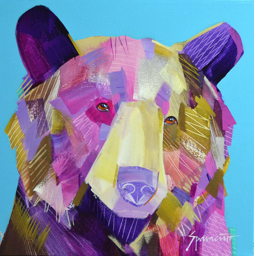 A painting of a grizzly bear in purple