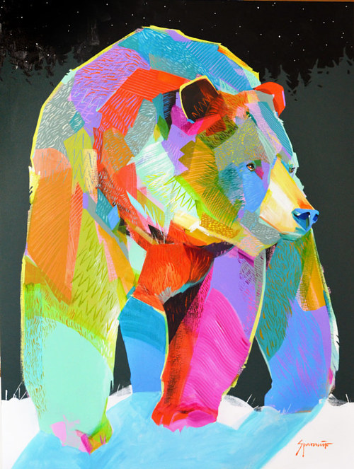 A painting of a bear in bright colors