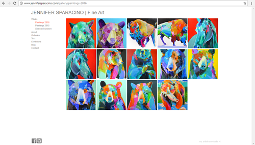 A screen capture of Jennifer Sparacino's art website