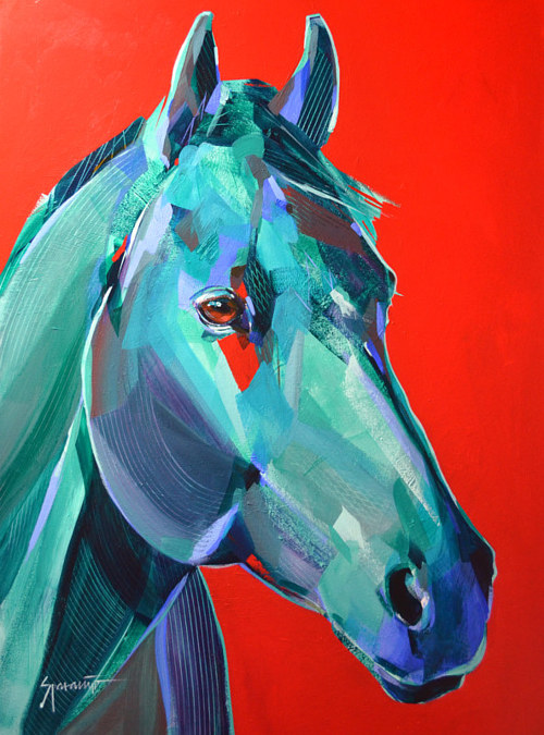 A painting of a blue green horse on a red background