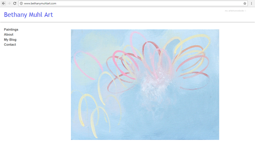 A screen capture of Bethany Muhl's art website