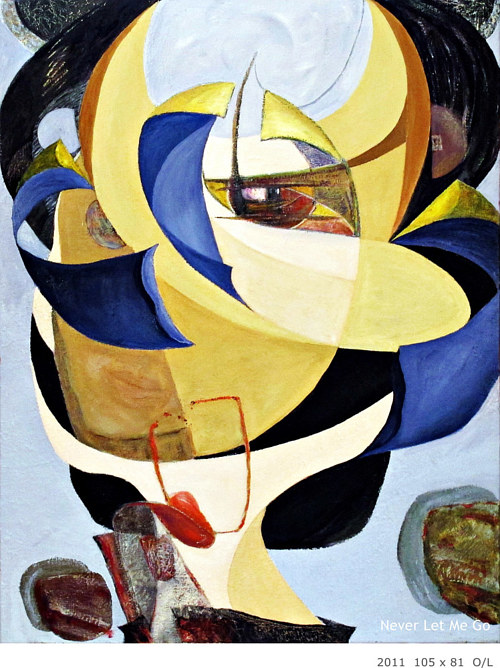 A painting of a heavily abstract face