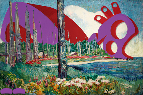A Haida art intervention digitally inserted into a landscape by Emily Carr