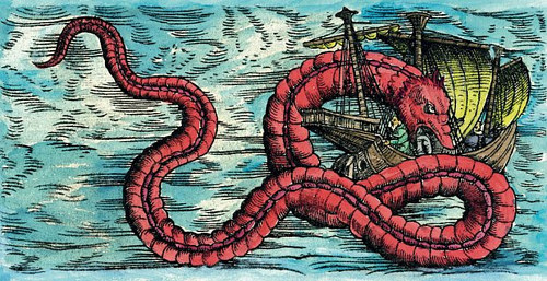 A 16th century engraving depicting a sea monster